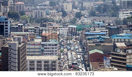NAIROBI, KENYA-SEPTEMBER 17, 2014: Unidentified crowds go about their business in a busy section of Nairobi, Kenya