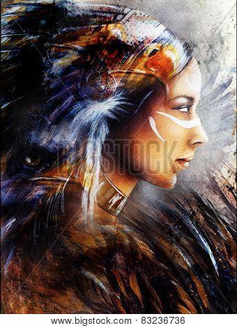 Woman Beautiful Painting Illustration  Profile Portrait Eye Contact Make Up Artist