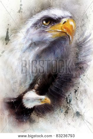 Beautiful Painting Of A  Flying Eagle, On An Abstract Textured Background Profile  Portrait