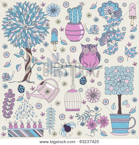 Texture with flowers, fruit tree, flowering tree, owl and insects.