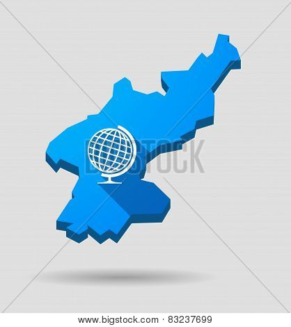 Blue North Korea Map With A World Globe