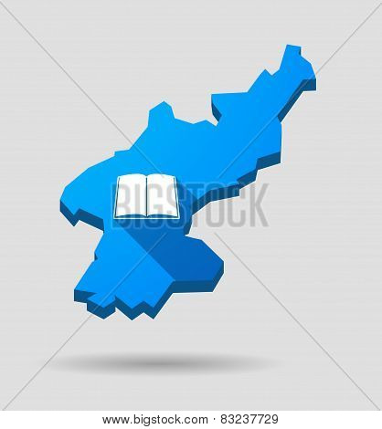 Blue North Korea Map With A Book