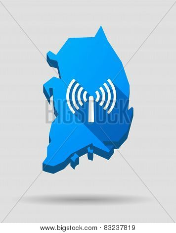 Blue South Korea Map With An Antenna