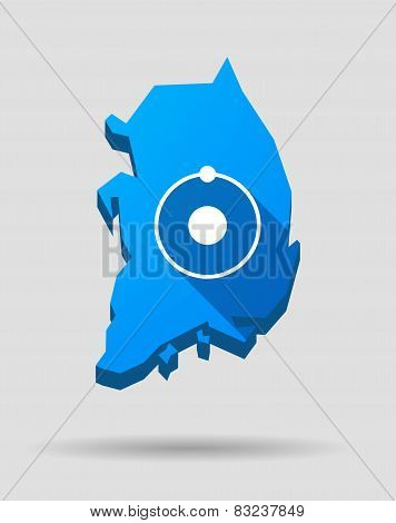 Blue South Korea Map With A