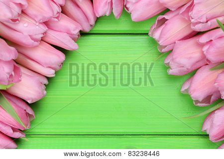 Tulips Flowers On Wooden Board In Spring Or Mothers Day With Copyspace