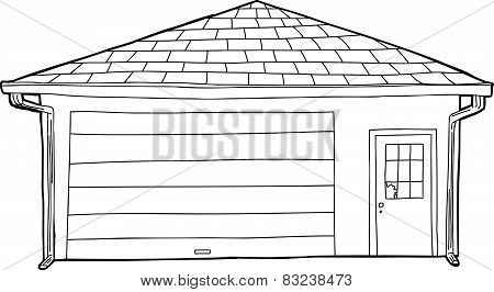 Outlined Garage With Broken Window