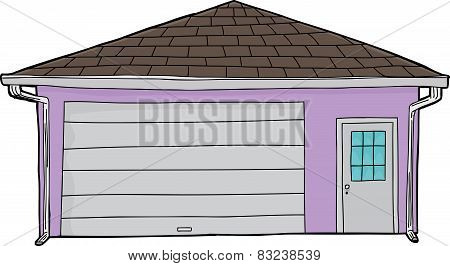 Isolated Closed Door Garage