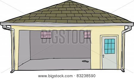 Isolated Single Open Garage