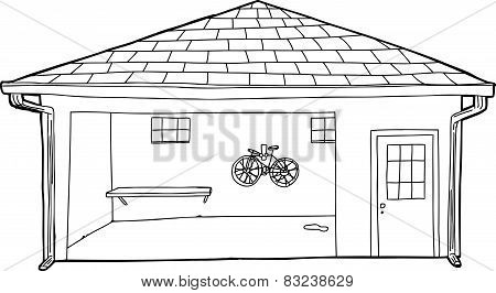 Outline Of Bike In Garage