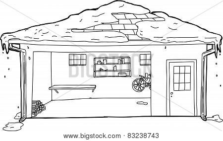 Outline Of Garage With Snow On Roof