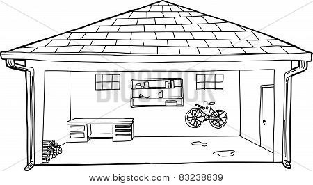 Outlined Garage With Bike And Workbench