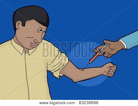Smiling Guy Getting Blood Test