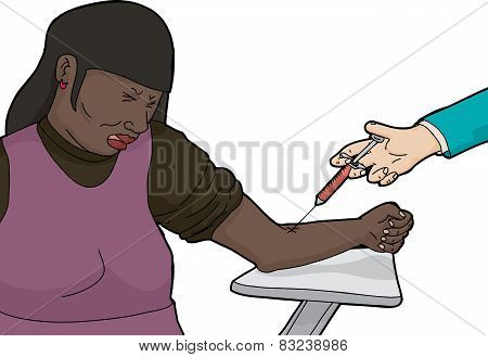 Isolated Woman In Pain From Needle