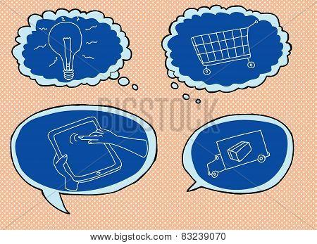 Blue Internet Shopping Symbols