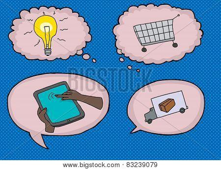 Various Internet Shopping Symbols