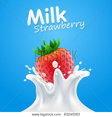 Label milk strawberry. vector illustration