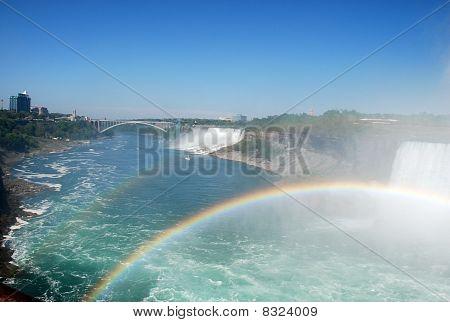 double rainbow at rainbow bridge Niagara water fall