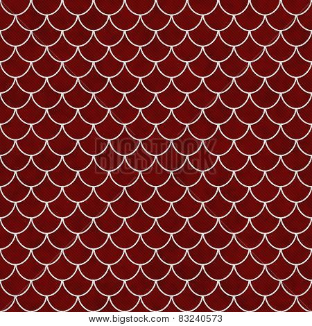 Red And White Shell Tiles Pattern Repeat Background