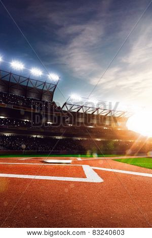 Professional baseball grand arena in sunlight