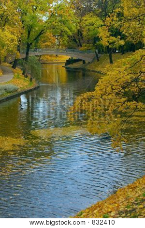 City canal in autumn