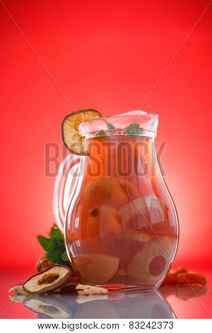 Compote Of Dried Fruits In A Carafe