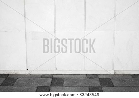 Urban Background Interior With White Tiling On Wall