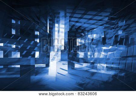Abstract Dark Blue 3D Digital Background. Hi-tech Concept