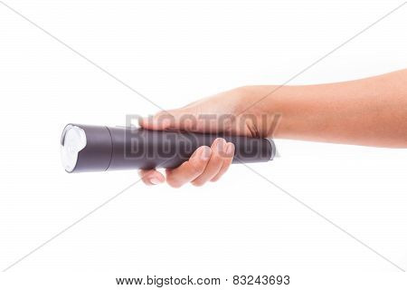 Hand holding with flashlight