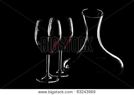 Silhouette Of Red Wine
