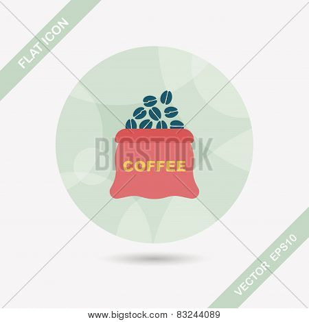 Coffee Bean Flat Icon With Long Shadow,eps10