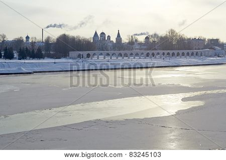Winter View of the Yaroslav's Court in Veliky Novgorod, Russia.