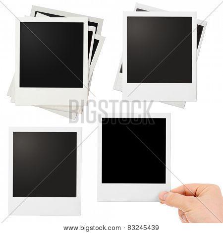 Various polaroid photo frames set isolated