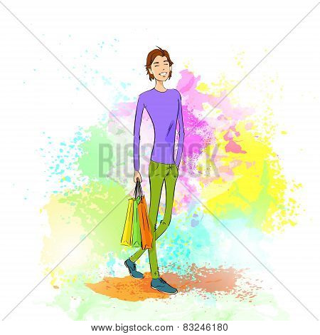 fashion shopping casual man with bag over colorful paint splash