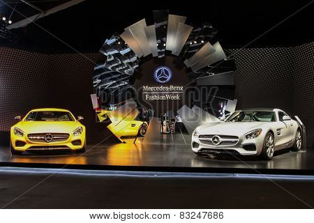 NEW YORK - FEBRUARY 18: Two new 2016 Mercedes-AMG GT S shoving on Fall/Winter 2015 collection during Mercedes-Benz Fashion Week in New York on February 18, 2015.