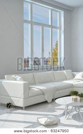 3D Rendering of Close up Elegant White Long Sofa at the Living Room Near the Glass Window