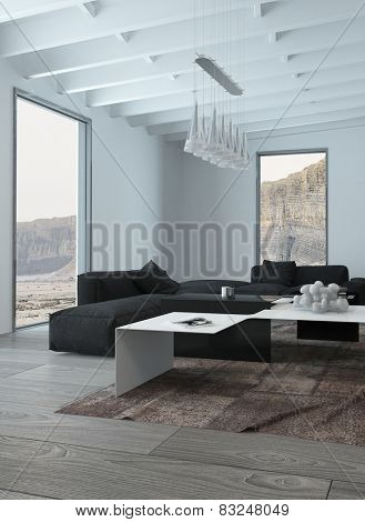 3D Rendering of Close up Black and White Elegant Living Room Design with Chandelier Hanging on Architectural Ceiling.
