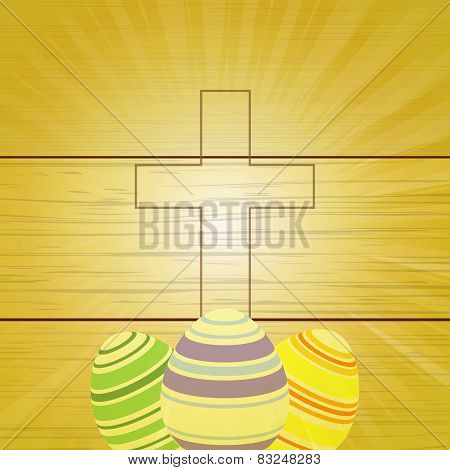 Easter Eggs And Cross On Wooden Background