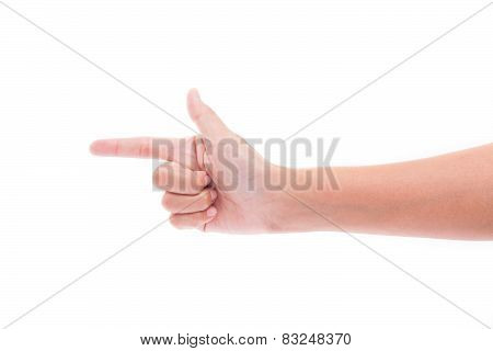 hand gesture of a single pointing finger