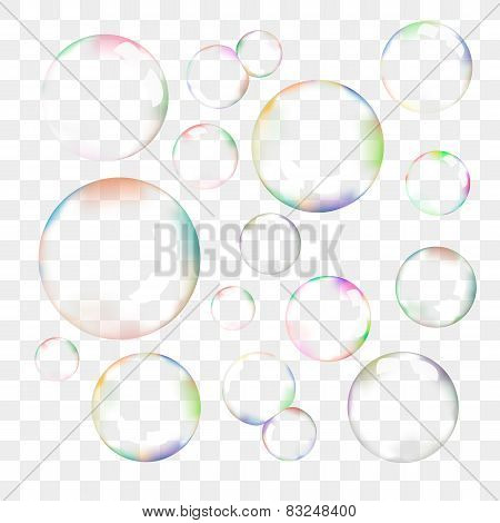 Set of transparent vector soap bubbles