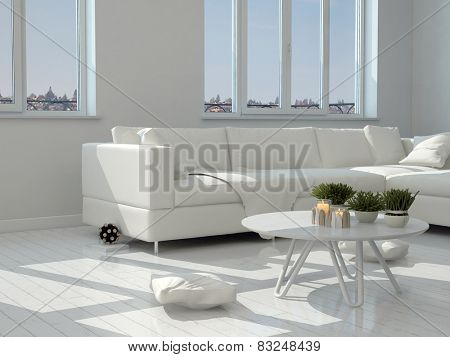 3D Rendering of Close up White Table with Small Plants and Classy Chairs at the Modern Living Room.
