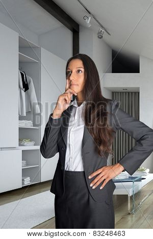 Close up Thoughtful Businesswoman in Office Attire Standing at the Room Looking Up. 3D Rendering
