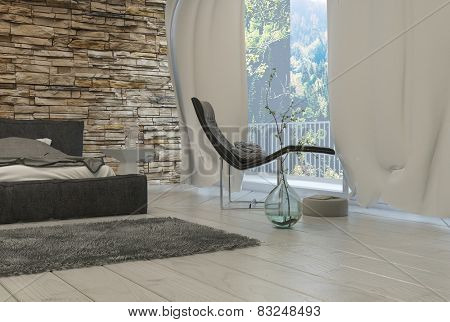 3D Rendering of Elegant Black Lounge Chair Near Glass Window with White Curtains Inside an Architectural Bedroom.