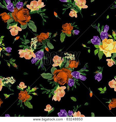 Seamless Floral Pattern With Roses And Freesia, Watercolor