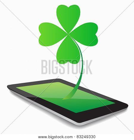 Leaf Clover Whit Tablet Computer