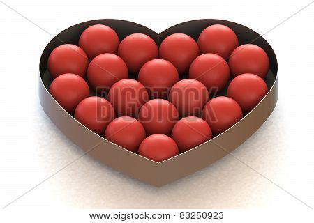 Red Balls In Heart Shaped Metal Box