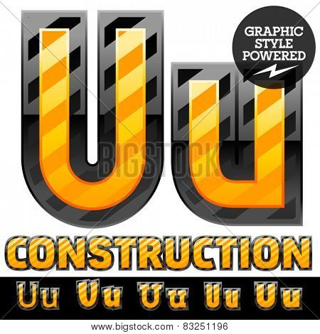 Vector set of striped orange and yellow alphabet in black border. Warning of danger style. Letter U