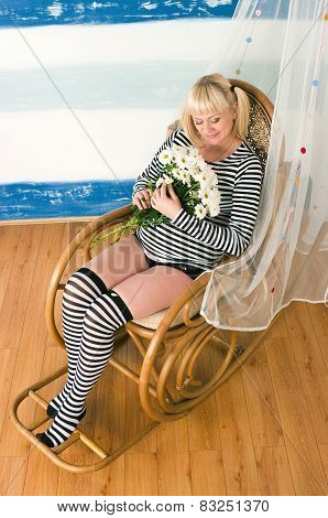 Beautiful Middle Aged Pregnant Female