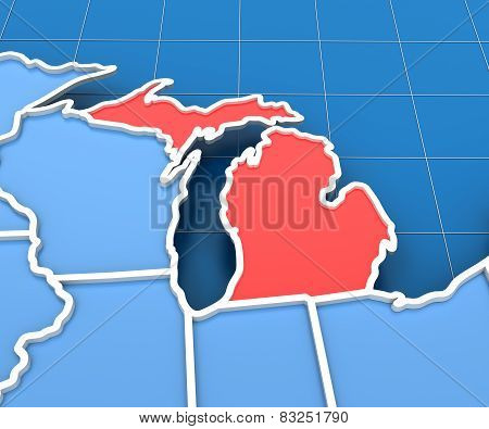 3d render of USA map with Michigan state highlighted