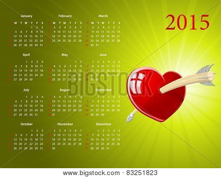 Vector American calendar 2015 with glossy heart for Valentines Day, starting from Sundays
