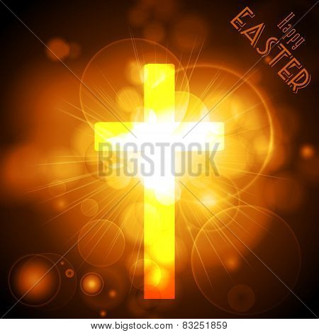 Easter Cross On A Golden Glowing Background With Text